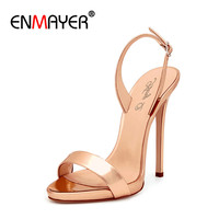 ENMAYER Luxury Gold Color Shoes Woman High Heels Sexy Open Toe Big Size 34 46 Gladiator