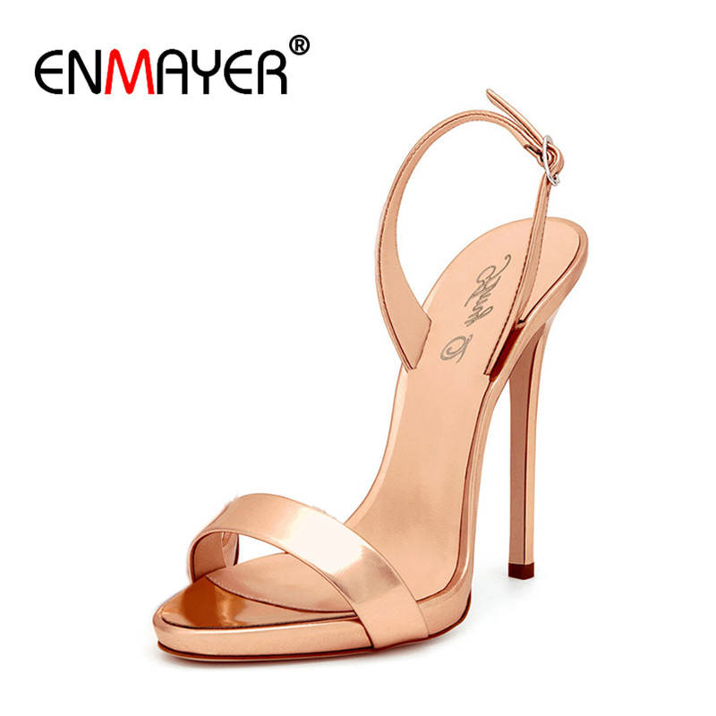 enmayer luxury gold color shoes woman high heels sexy open. Black Bedroom Furniture Sets. Home Design Ideas