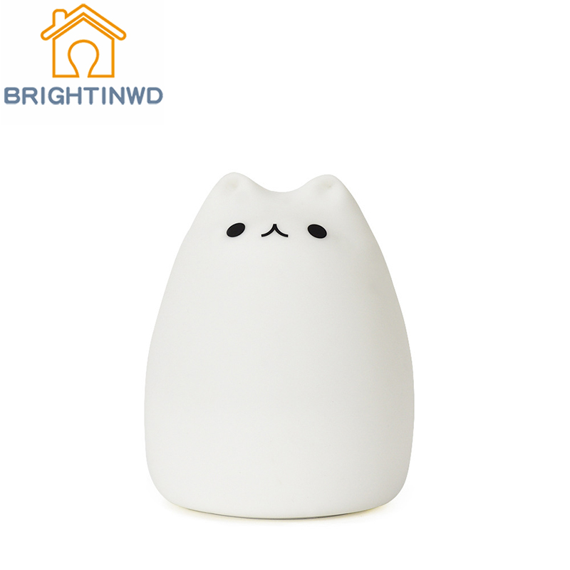 BRIGHTINWD Advanced 7 Color Cat LED Children's Animal B Colorful Night Light Silicone Soft USB Charging Light Cute Pet Lamp