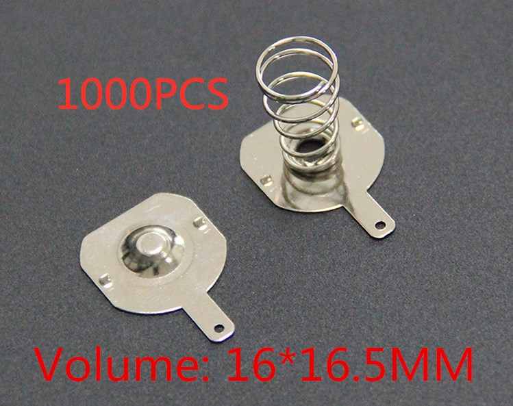 Free delivery 1000pcs 18650 battery pack 16MM 16 5MM spring contact piece battery box positive and