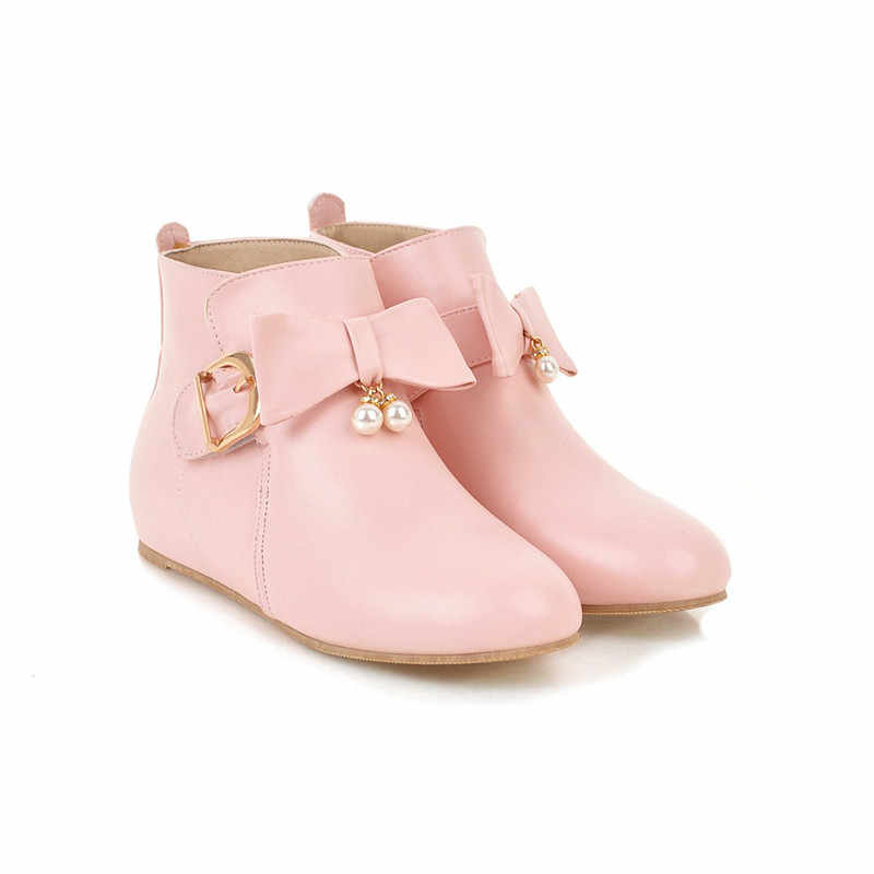 Morazora 2018 Baru Fashion Sepatu Wanita Round Toe Sepatu Semata Kaki Ikatan Simpul Manis Kasual Musim Gugur Musim Dingin Sepatu Bot Sepatu Ukuran Besar 33- 45 Grosir