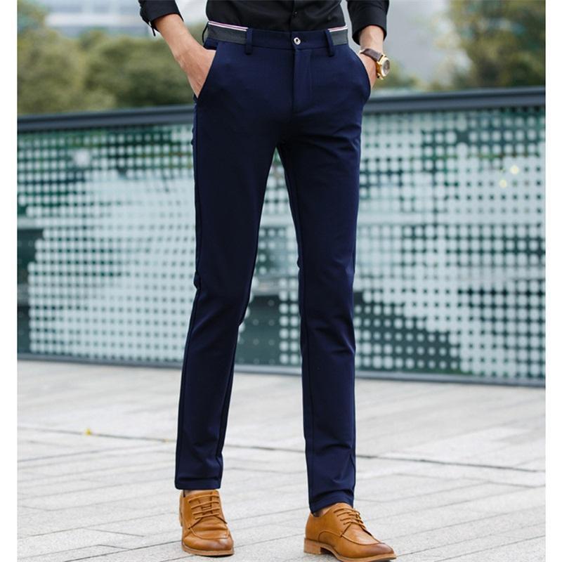 Hombre Formal Pantalones Clasico Plisado Frontal Largo Vestido Pantalones Regular Fit Para Hombre Gris Oscuro Recto Pantalones De Trajes Algodon Azul Marino Pantalones De Traje Aliexpress