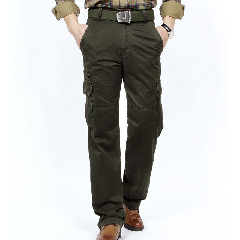 New Cargo Pants Men Autumn Trousers Men Mid waist Full Length Many Pockets Mens Pants Military Casual Loose Big Size Cargo Pants-in Cargo Pants from Men's Clothing    1