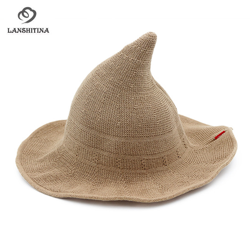 Cotton Witch Hats for Women Wide Brim Knitted Top Hat Foldable Female Bucket Hats Top Fisherman Hat GH-272