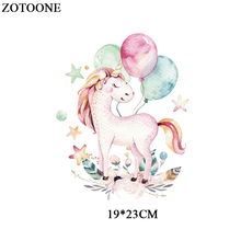 ZOTOONE Cute Unicorn Patches Iron On Transfer For Girl Clothing Diy T-shirt Dresses Heat Transfer Vinyl Sticker For Kids Cloth 0 5 15m 20 x 42 21 glitter heat transfer vinyl for cloth purple color cuttable pu flex vinyl film for t shirt iron on vinyl