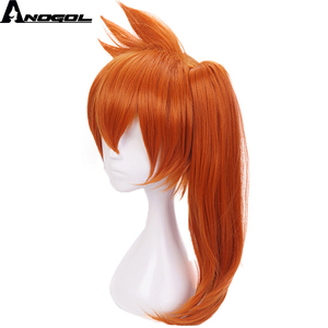 Image 3 - Anogol My Hero Academy Itsuka Kendo Long Straight Ponytail Orange Hair Wigs Synthetic Cosplay Wig For Halloween Role Play Party