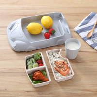 Bamboo fiber baby car shape Dinnerware plate Tray creative children's rice bowl cartoon shatter resistant cute Cup lunch box