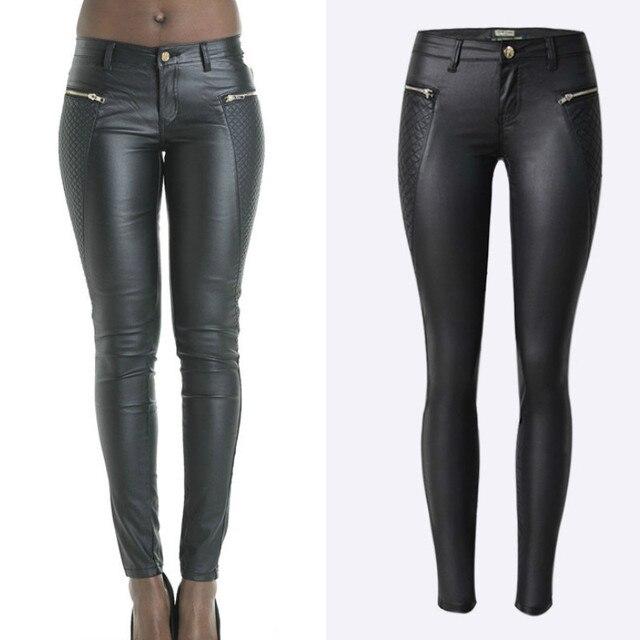 2c9f8c5a51 Bajo cintura imitación cuero pu flaco lápiz Pantalones mujeres negro  cremallera lateral raya bordado pantalon push