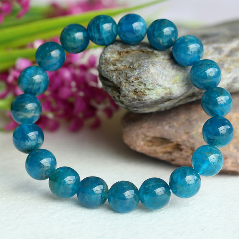 Discount Wholesale Natural Green Blue Apatite Crystal Stretch Finish Bracelet Round Beads 10mm 04150 natural green phantom crystal 10mm semi everlast crystal beads diy bracelets 40 cm string