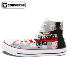 Cool Women Men's Converse Chuck Taylor Hand Painted Shoes Man Woman Walking Dead Custom Design Grey High Top Sneakers