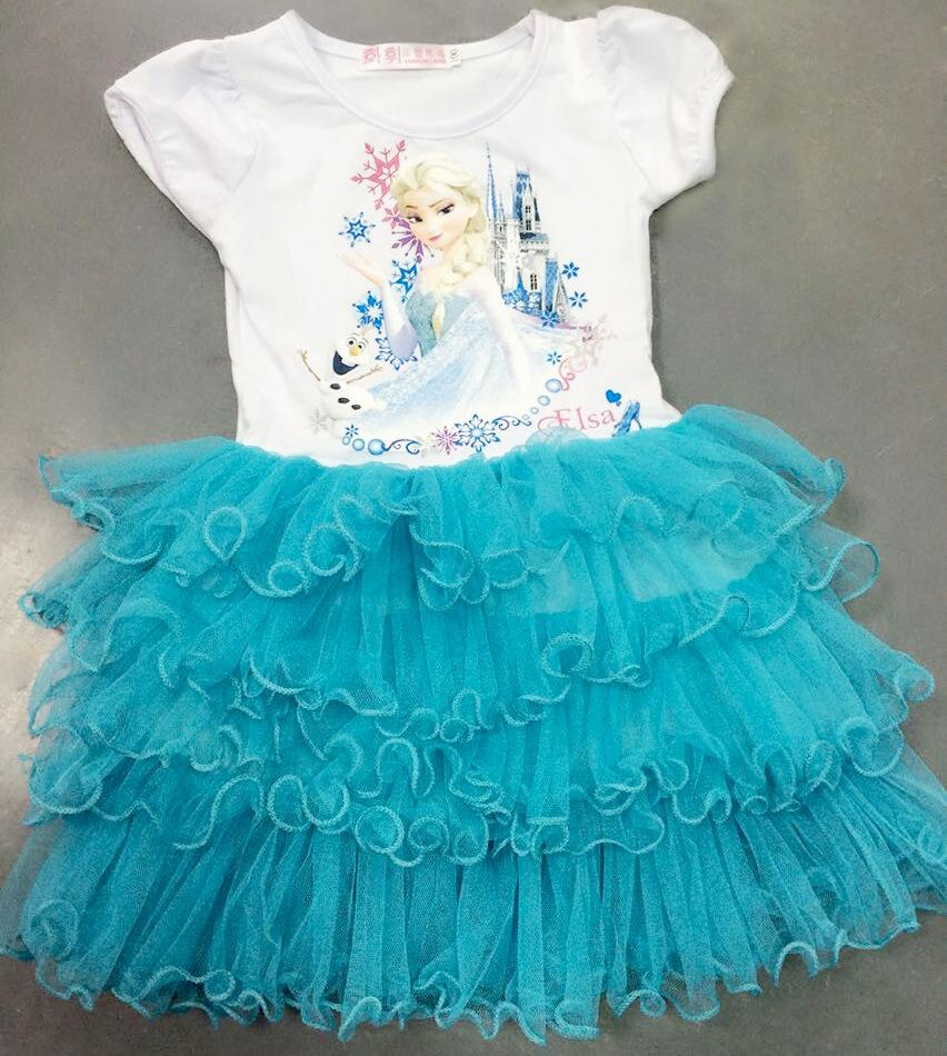 все цены на &E-babe& Wholesale summer new children's cartoon clothing girls princess elsa tutu dress blue pink purple 10pc lot free shipping онлайн