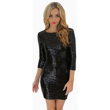 O-Neck Long Sleeve Paillette Sequins Backless Slim Pencil Party Dress