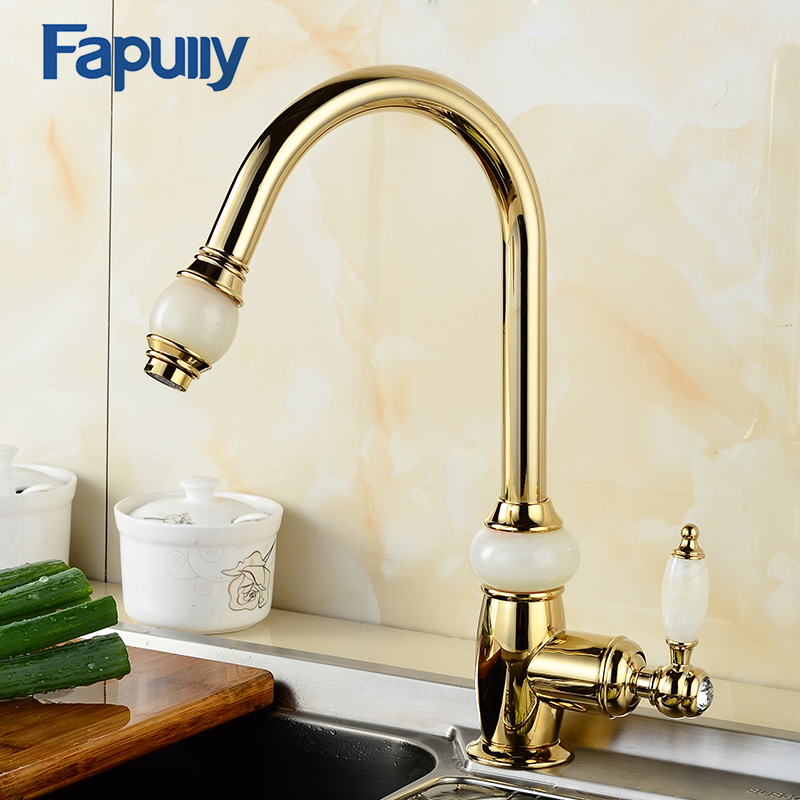 Fapully Gold Kitchen Mixer Pull Out Spray Head Faucet Jade Crystal Handle Deck Mounted Kitchen Taps Brass Sink Body Mixer 549-33