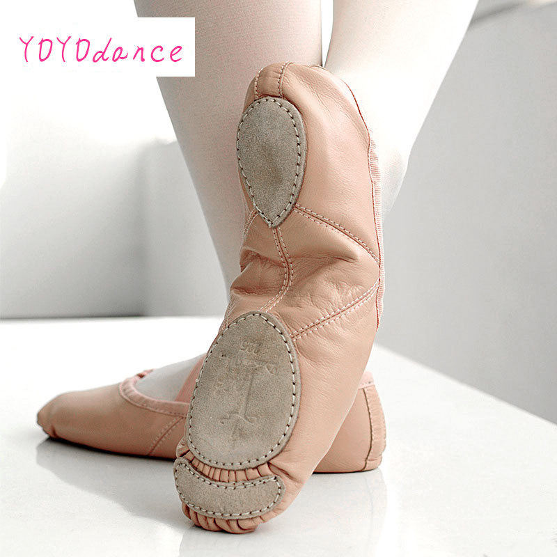 Brand New Leather Ballet Dance Shoes Professional Soft Women Split Sole Pink Black Wholesale Traveling