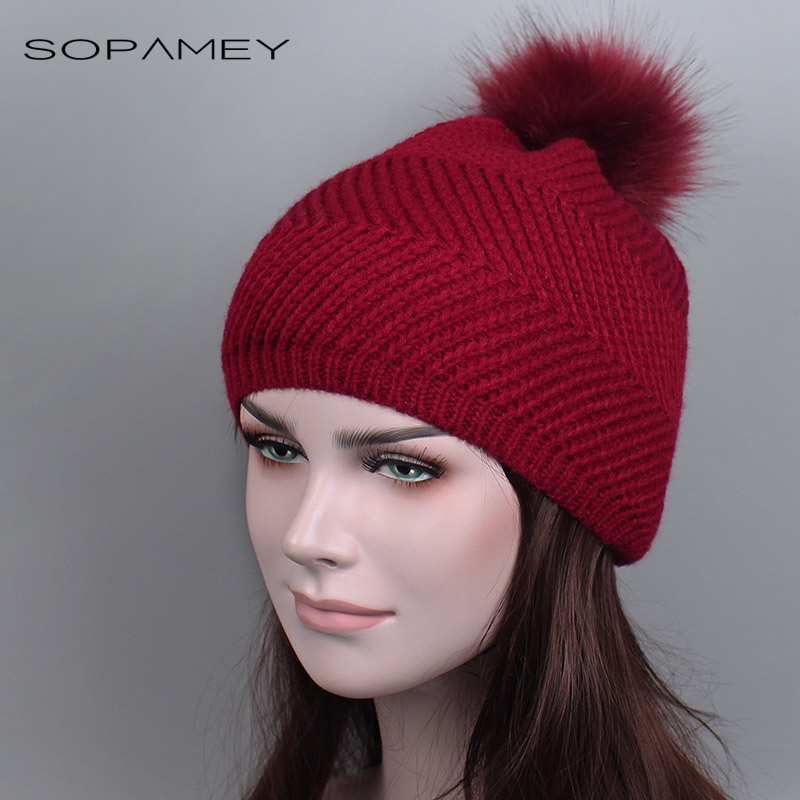 Wholesale Faux Mink Fur Pom Poms Knitted Hats