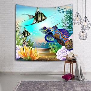 Image 3 - קיר תלוי שטיח קיר דגי חיות ים כחול דולפין צבי CAMMITEVER לזרוק עיצוב בית לסלון חדר שינה במעונות Deccor