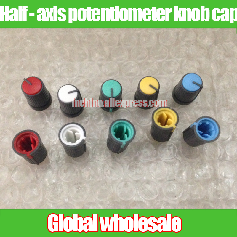 H16mm Exquisite Traditional Embroidery Art W12mm Blue White Yellow Axis Potentiometer Gray Knob Cap 270 Degree Red Black Green 10pcs Half