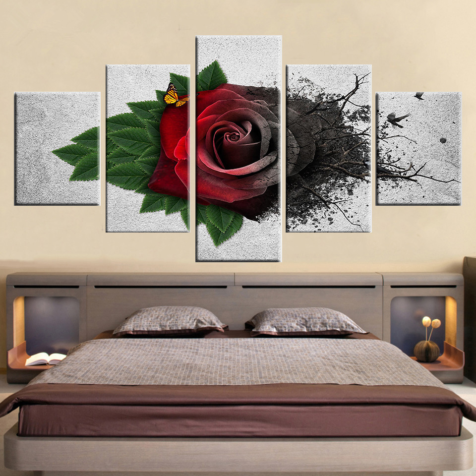 Wall-Art-Modular-Canvas-Pictures-5-Pieces-Red-Garden-Roses-Flowers-Painting-HD-Printed-Butterfly-Poster (3)