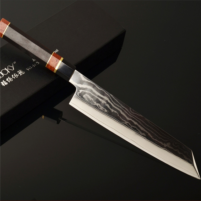 9.5'' Damascus-patterned Blade on Core VG10 Kitchen Knife Japan Kiritsuke Meat Cleaver Sushi/Sashimi Raw Fish Fillet Knife 2.1