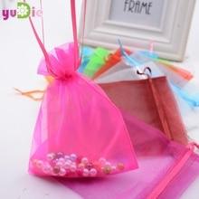 11f4f069d 10 unids lote 12 16 cm Mariage recuerdo Organza caramelo bolsas 12 colores  regalo de boda joyería caja del caramelo de la boda d.