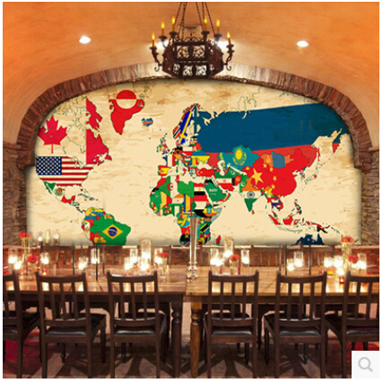 Wallpaper World Map Countries Flags Large Murals Tv Living Room 3d
