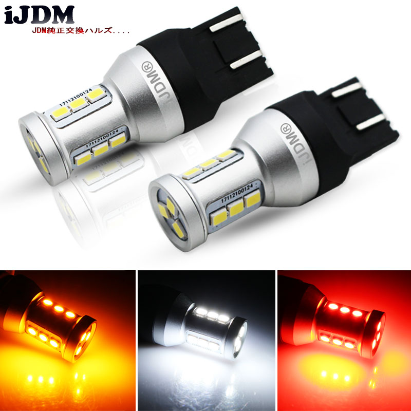 iJDM Car T20 7440 7443 LED Bulbs Canbus OBC T15 W16W LED 1156 S25 LED 1157 3156 3157 LED For Brake Reverse Light Turn Signal 12V 7443 7440 t20 6w 300lm 27 x smd 5050 led warm white car steering brake backup light 12v