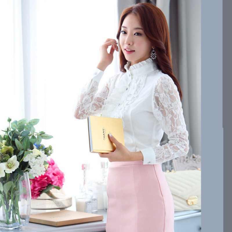 2018 модная женская блузка офисная шифоновая кружевная с длинным рукавом формальная рубашка с оборками и стоячим воротником черный, белый