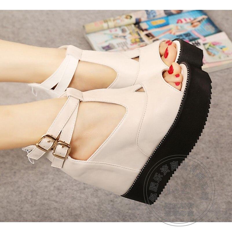 Sweet Single Shoes Zip Plateau Wedge Korean Shoes For font b Women b font Open Toe