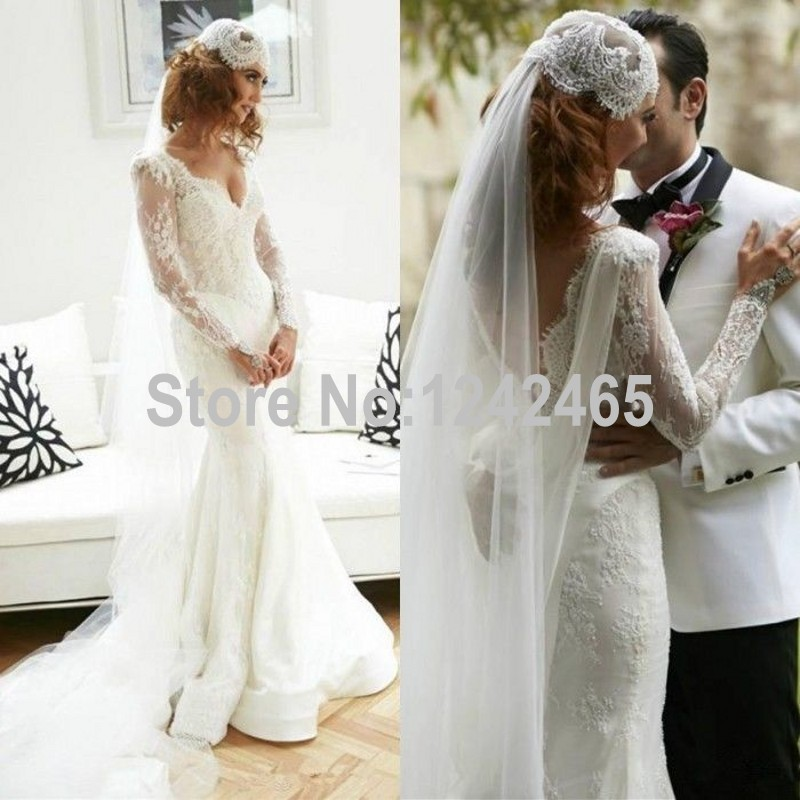Sexy mermaid v neck spanish style wedding dresses high for Spanish wedding dresses lace