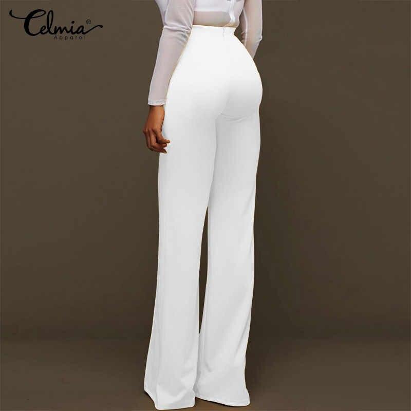 OL женские длинные брюки 2019 офисные женские брюки с высокой талией повседневные эластичные широкие брюки палаццо модные пуговицы Pantalon Femme S-5XL