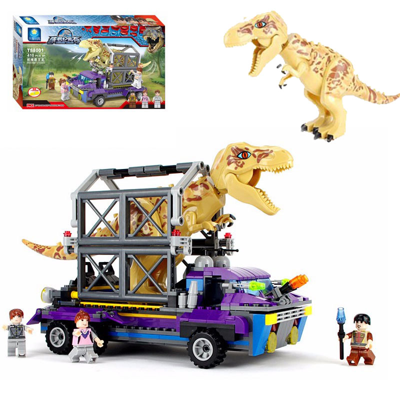 Jurassic  410PCS/SET Tyrannosaurus T-REX Tracker King T-Rex Dinosaur Action Figure Model Building Blocks Bricks Kids Toy jurassic monster action tyrannosaurus rex can use electric to lay an egg with light simulation model children s toy