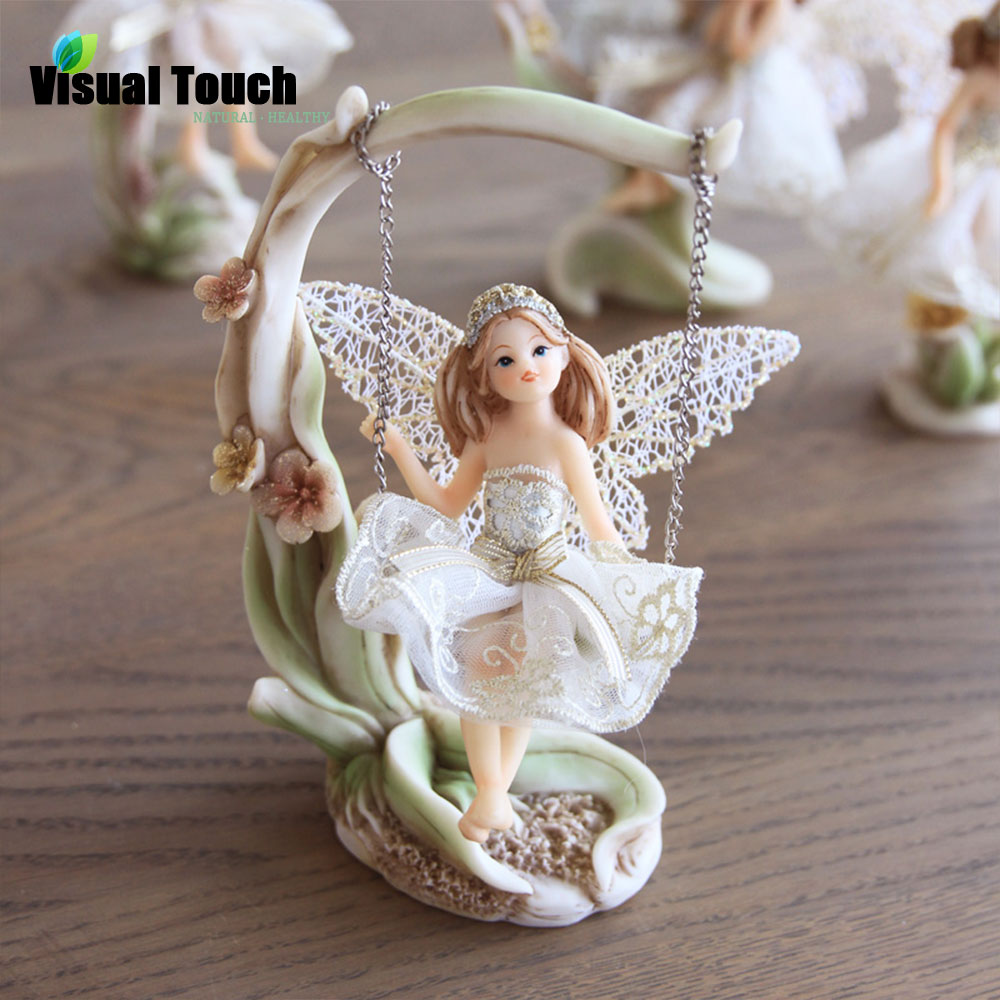 high quality tabletop decoration resin craft swing girl wing fairy angel sculpture home decor. Black Bedroom Furniture Sets. Home Design Ideas