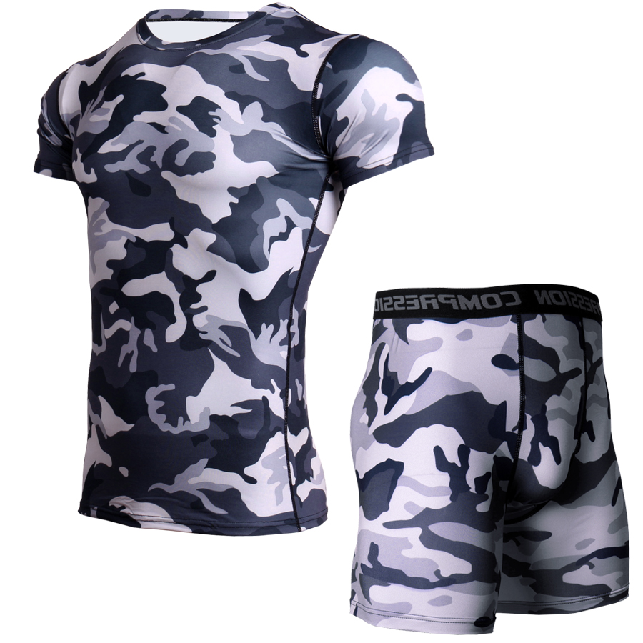Camouflage Fitness T Shirt Men Compression Set Bodybuilding Tshirt Short Leggings Quick Dry Rashguard Fitness Tops Gyms Clothes