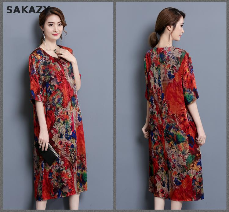Sakazy Silk Haut Elegant Floral Printing Dress Fashion Women Clothing  Casual Vestido Plus Size Fat Mm Femme Dress C20-in Dresses from Women s  Clothing on ... eae950460e27