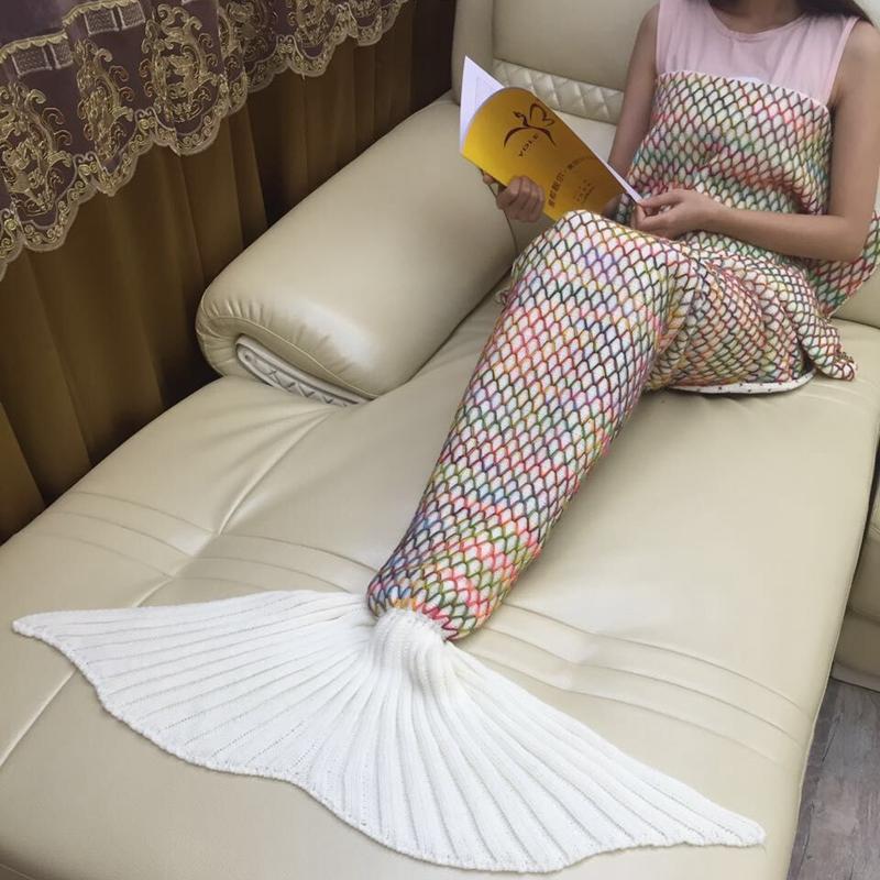 Prix pour Treillis coloré Sirène Couverture Adulte De Couchage Doux Lit Crochet Fait Main Anti-Peluche Portable Couverture Pour Automne Beauté Cadeau