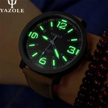 Yazole marca de lujo reloj de cuarzo de cuero de moda casual relojes reloj masculino reloj de los hombres relojes deportivos envío libre