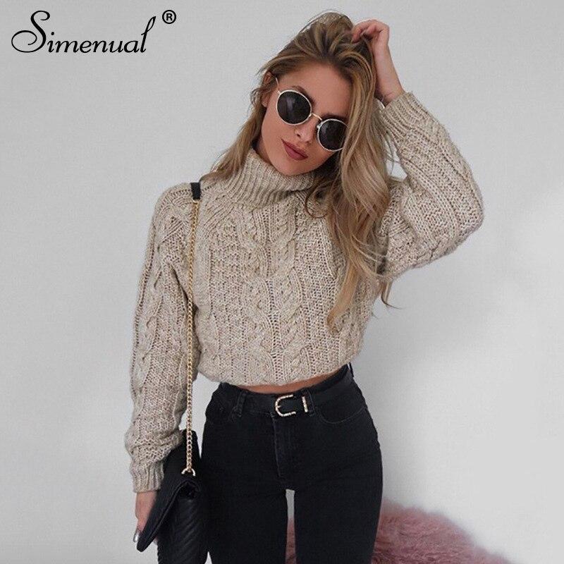 Simenual Twist rollkragen pullover für frauen mode schlank abgeschnitten jumper kntwear herbst fashion solid pullover weibliche grundlegende