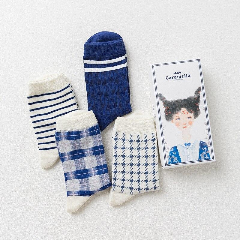 OLN AHR 21-27 Gift box brand women cotton socks retro style socks autumn winter fashion stripes socks New Arrival