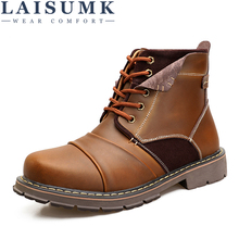 LAISUMK Fashion Autumn Winter Mens Leather Working Boots Casual Ankle New Male Snow Plus Size 38-45 Martin Style