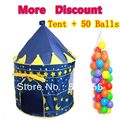 Kids Ball Gift Promotion Prince Blue Child Tent + 50 Ocean Balls Kids Game House Wave Balls Indoor And Outdoor Play Tent ZP5012