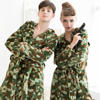 Spring Autumn Winter Flannel Camouflage Robes Women Thickening Bath Robe Hooded Casual Couple Towel Bathrobe Nightgown