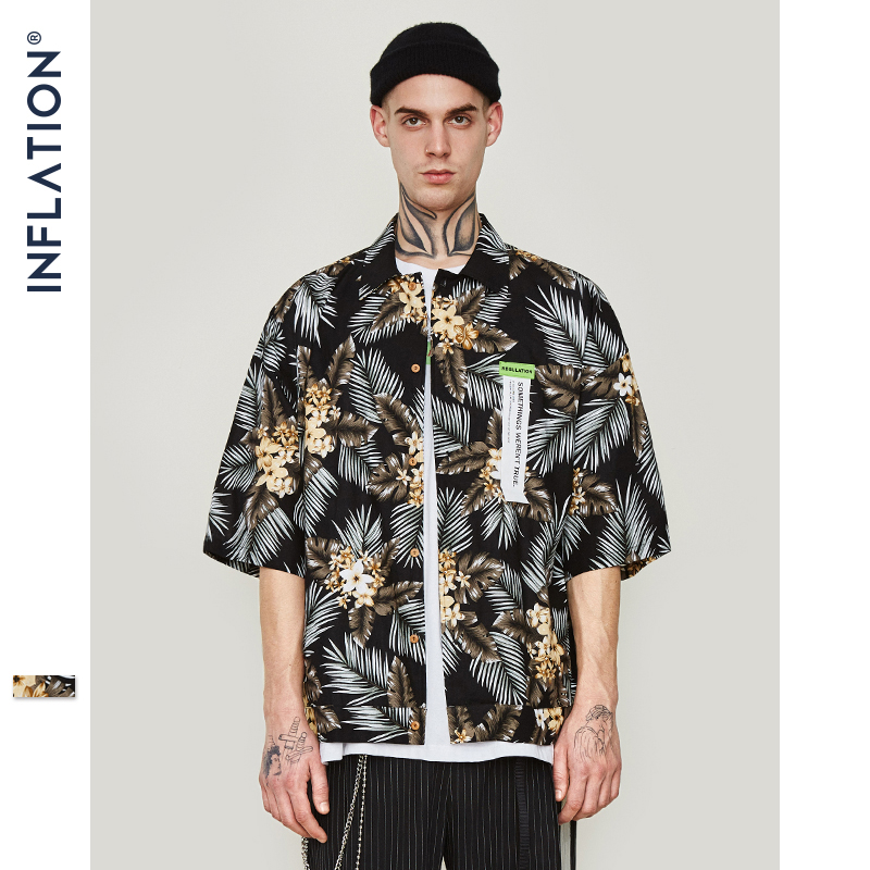 INFLATION Mens Hawaii Shirt For Summer Beach Leisure Fashion Short Sleeve Shirt Flower Print Shirts Loose Fit Brand Shirt 9209S