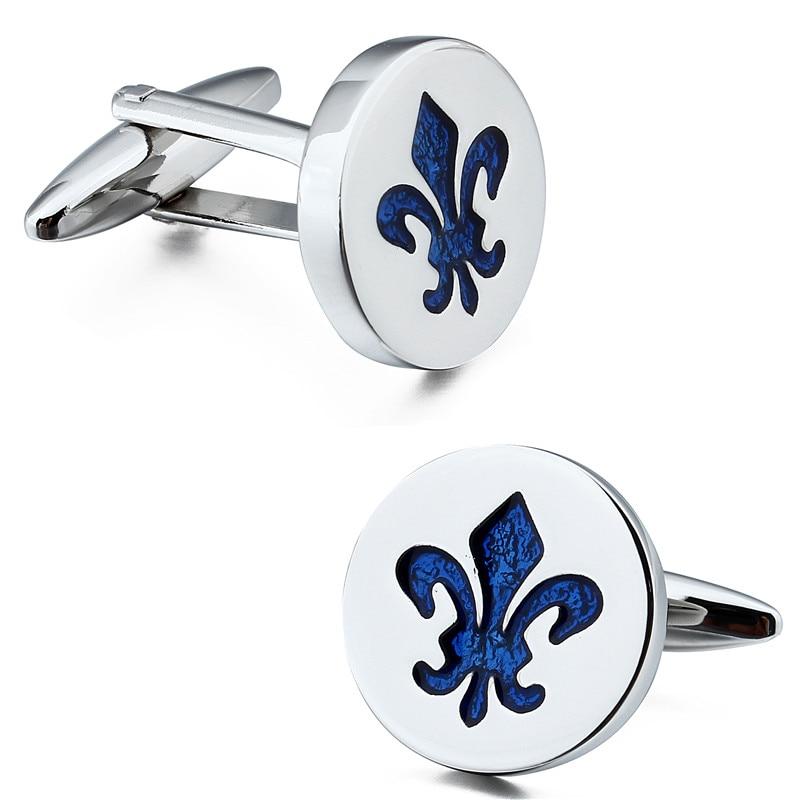 HAWSON Classic Fleur De Lis Cufflinks Blue Enamel Pattern Silver Color Cuff links for French Cuff