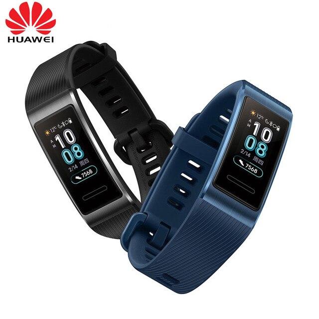 Huawei Band 3 Pro GPS Amoled 0.95 Full Color Touchscreen Waterproof Metal Swim Stroke Heart Rate Sensor Sleep Bracelet