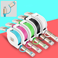 Cabos de Telefone Original 2em1 Cabo Micro Dados Carregador Rápido + 8pin USB para o iphone 5 6 S Samsung HTC Android Armazenamento Flexível trecho
