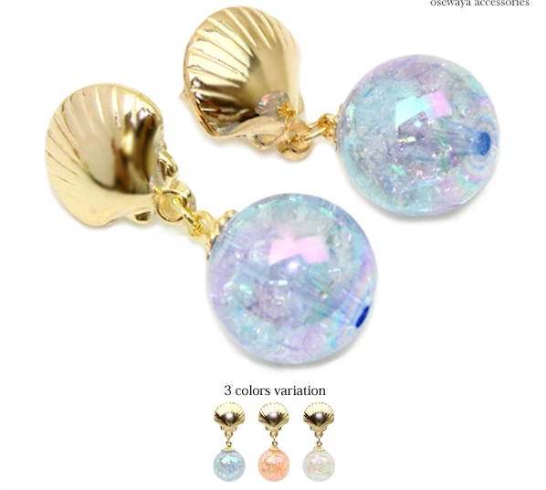 2018 New Fashion Sweet Originality Gold Shell Colorful Artificial Pearl Pendant Stud Earring Jewelry Accessary Product for Lady
