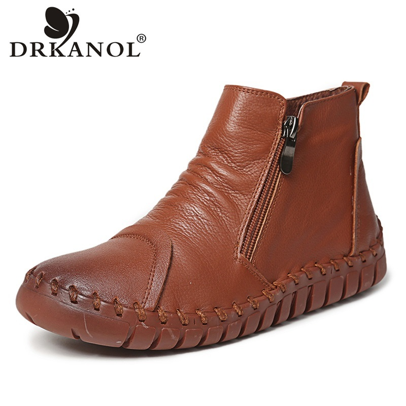 DRKANOL Autumn Winter Women Boots Genuine Leather Side Zipper Ankle Boots Handmade Retro Flat Short Boots Cowhide Women Shoes блуза class cavalli зеленый