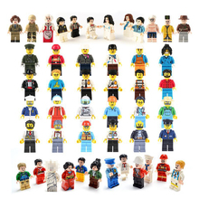 12pcs/lot  Action Figures Building Blocks Figures Brick DIY Toys Compatible Legoed  Figures Police Soldier  Occupations For Gift