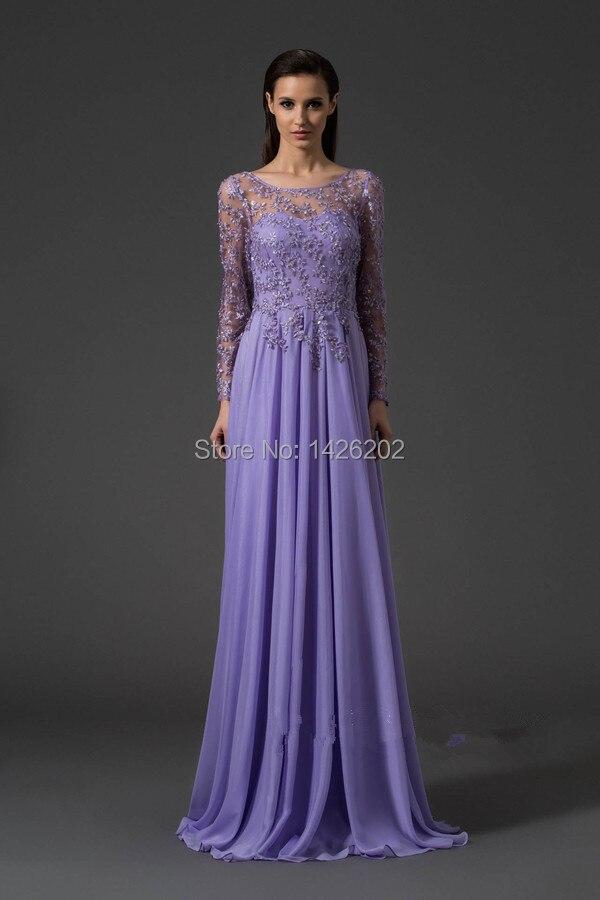 Romantic Purple Chiffon Lace Long Sleeve Sexy Backless Dress Party