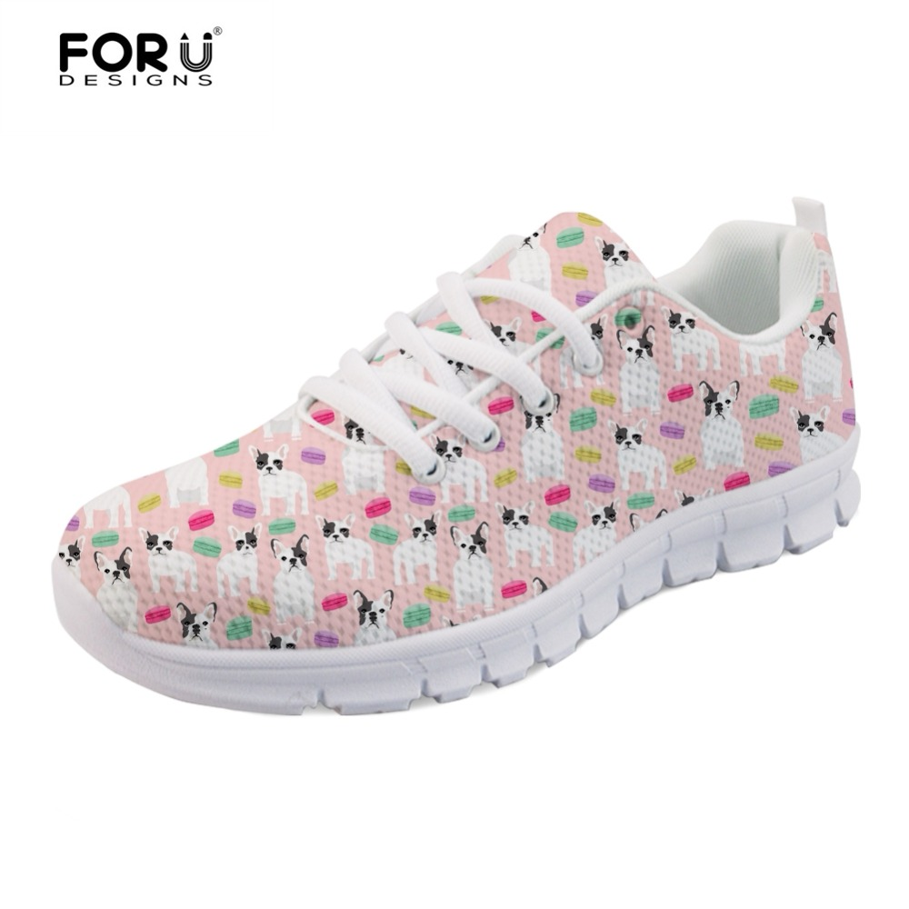 FORUDESIGNS Cute 3D French Bulldog Pattern Women's Sneakers Casual Female Spring Summer Light Weight Mesh Shoes for Ladies Flats forudesigns spring summer casual women sneakers cute happy chef pattern flats shoes woman fashion cartoon mesh shoes women flat